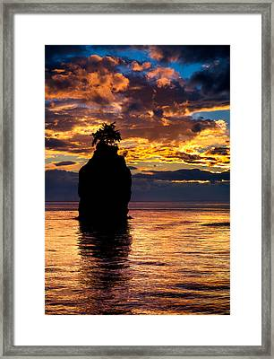 Siwash Rock Silhouette Framed Print