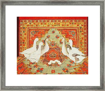 Six Geese A-laying Framed Print by Ditz