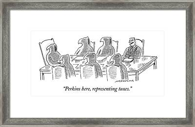 Six Grim Reapers Sit At A Conference Table Framed Print