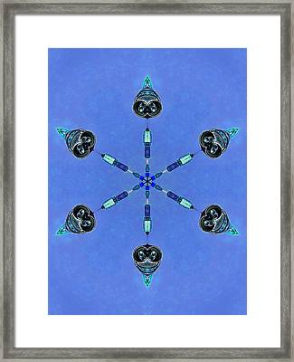 Six Heads Are Better Than One - Blue Framed Print by Wendy J St Christopher