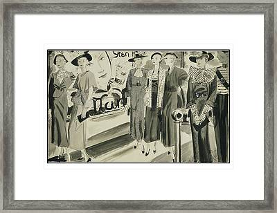 Six Ladies Wearing Summer Clothing Framed Print