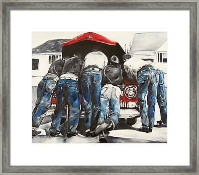 Six Mechanics Under The Hood Of A Classic Car Framed Print