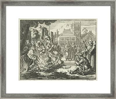 Six Men And Two Women On The Dam Before The Old Town Hall Framed Print by Quint Lox