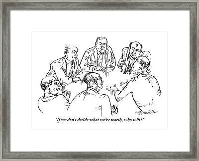 Six Men Sit At A Table Together Framed Print