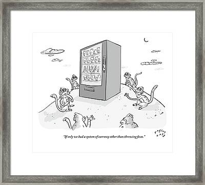 Six Monkeys Surround A Vending Machine On Top Framed Print by Farley Katz