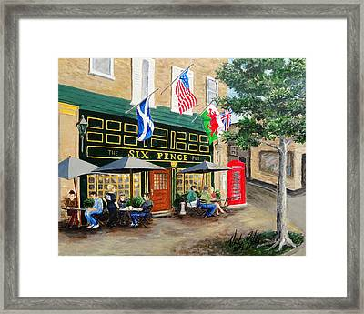 Framed Print featuring the painting Six Pence Pub by Marilyn Zalatan