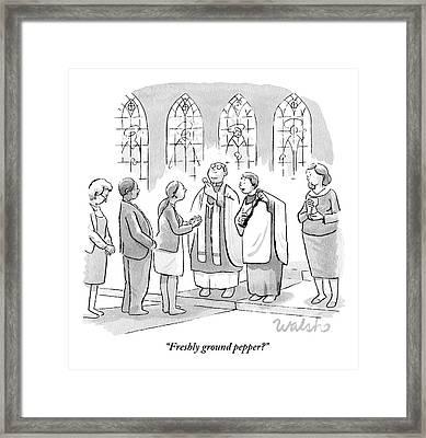 Six People In Church Framed Print