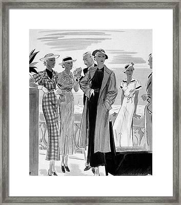 Six People Posing On A Terrace Framed Print