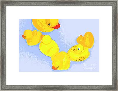 Framed Print featuring the digital art Six Rubber Ducks by Valerie Reeves