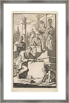 Six Scholars With Rolls Of Parchment On The Stairs Framed Print by Quint Lox