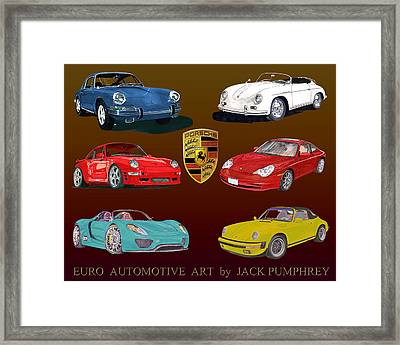 Six Sexy Slick Porsche Automobiles Framed Print by Jack Pumphrey