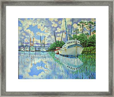 Six Shrimp Boats In Off Season Framed Print