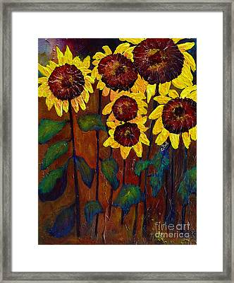 Six Sunflowers Framed Print by Claire Bull