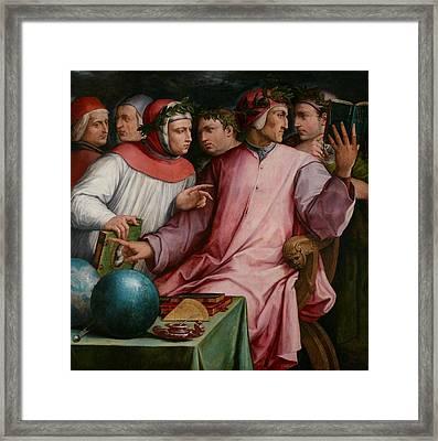 Six Tuscan Poets Framed Print by Giorgio Vasari