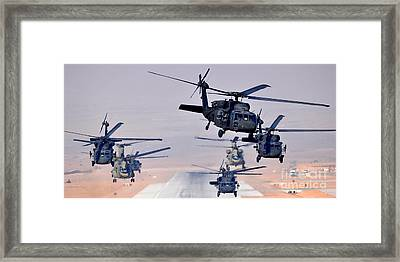 Six Uh-60l Black Hawks And Two Ch-47f Chinooks Framed Print