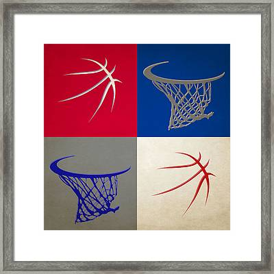 Sixers Ball And Hoop Framed Print