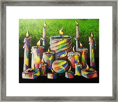 Sixteen Colorful Candles With Flames Glowing Brightly Framed Print by Loraine Griffin