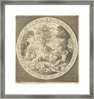 Sixth Day Of Creation God Creates The Animals And Adam Framed Print by Nicolaes De Bruyn And Maerten De Vos