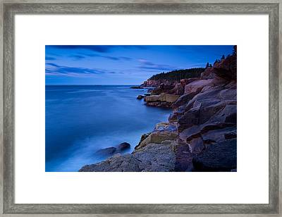 Sixty One Seconds In The Blue Hour Otter Cliffs Acadia National Park Framed Print by Jeff Sinon