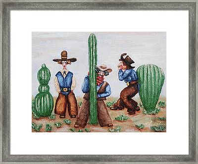 Sizing Up Your Cowboy  A Cactus Comparison Framed Print