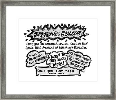 Sizzling Bucks Eavesdrop On America's Lustiest Framed Print by Lee Lorenz