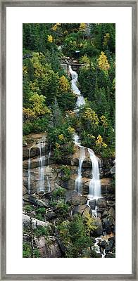Skagway Waterfall Vertical Panorama Framed Print by Michael Peychich