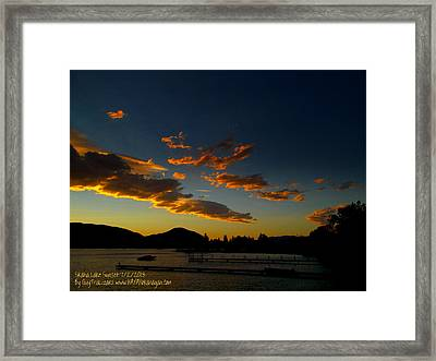 Framed Print featuring the photograph Skaha Lake Sunset 02 July02/2013 by Guy Hoffman