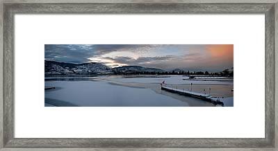 Skaha Lake Sunset Panorama 02-27-2014 Framed Print