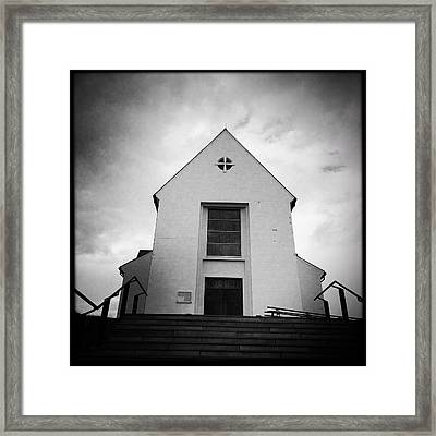Skalholt Cathedral Iceland Europe Black And White Framed Print