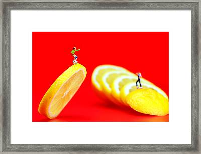 Skateboard Rolling On A Floating Lemon Slice Framed Print