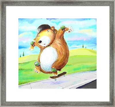 Skateboarding Bear Framed Print by Scott Nelson