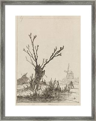 Skater With Sled In A Willow, Johannes Franciscus Framed Print