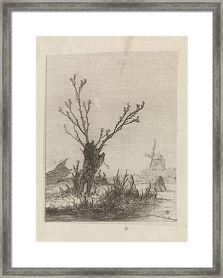 Skater With Sled Near A Willow, Print Maker Johannes Framed Print