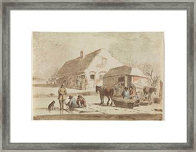 Skaters And A Sledge At A Farm, Hendrik Spilman Framed Print by Hendrik Spilman
