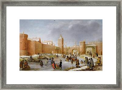 Skaters And Kolf Players Outside The City Walls Of Kampen  Framed Print by Barent Avercamp