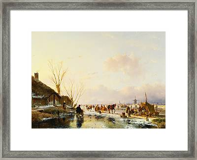 Skaters By A Booth On A Frozen River Framed Print by Andreas Schelfhout