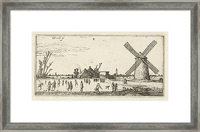 Skaters On The Ice At A Mill Near Penningsveer Framed Print