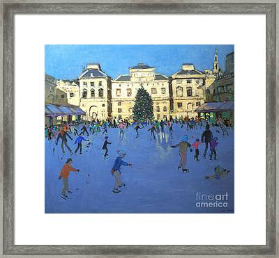 Skaters  Somerset House Framed Print by Andrew Macara