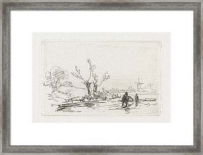 Skaters With Willows, Johannes Franciscus Hoppenbrouwers Framed Print