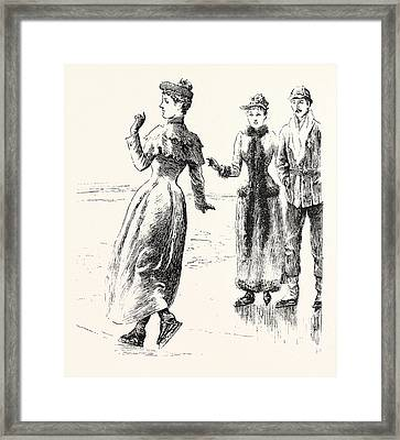 Skating A Lesson In Figure Cutting Framed Print by English School