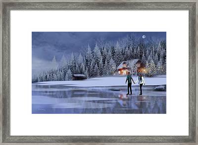 Skating At Christmas Night Framed Print