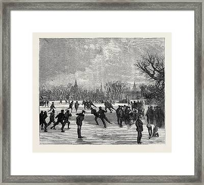 Skating At Oxford, 1870 Framed Print by English School
