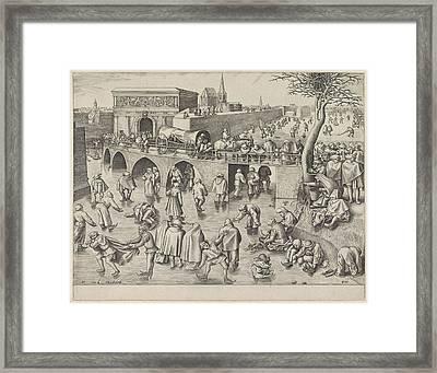 Skating At The Sint-jorispoort Antwerp Belgium Framed Print by Frans Huys And Pieter Brueghel I And Hieronymus Cock