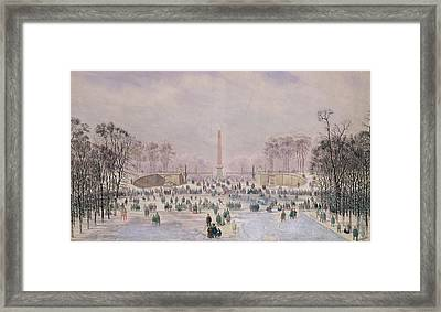 Skating In The Tuileries Framed Print by Theodore Jung