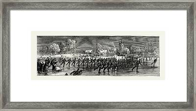 Skating Parade Of The First Huntingdonshire Rifle Volunteers Framed Print by English School