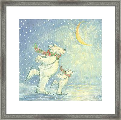 Skating Polar Bears Framed Print by David Cooke