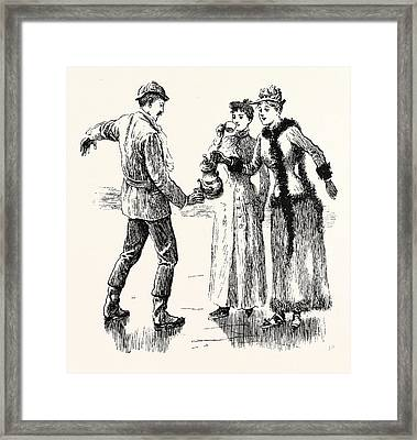 Skating Pouring Out Coffee Under Difficulties Framed Print by English School
