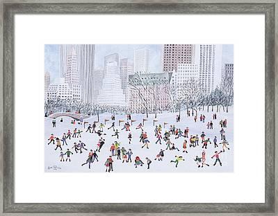 Skating Rink Central Park New York Framed Print by Judy Joel