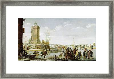 Skating Scene  Framed Print by Barent Avercamp
