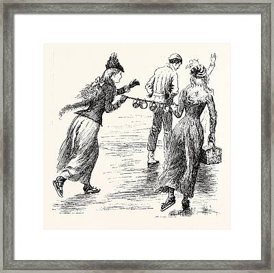 Skating The Arrival Of The Teacups Framed Print by English School